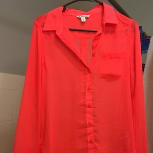 American Eagle Bright Pink button up